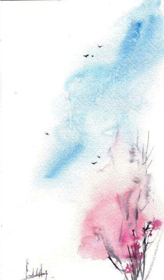 570x971 Original Minimalist Watercolor Painting, Spring Painting, Pink
