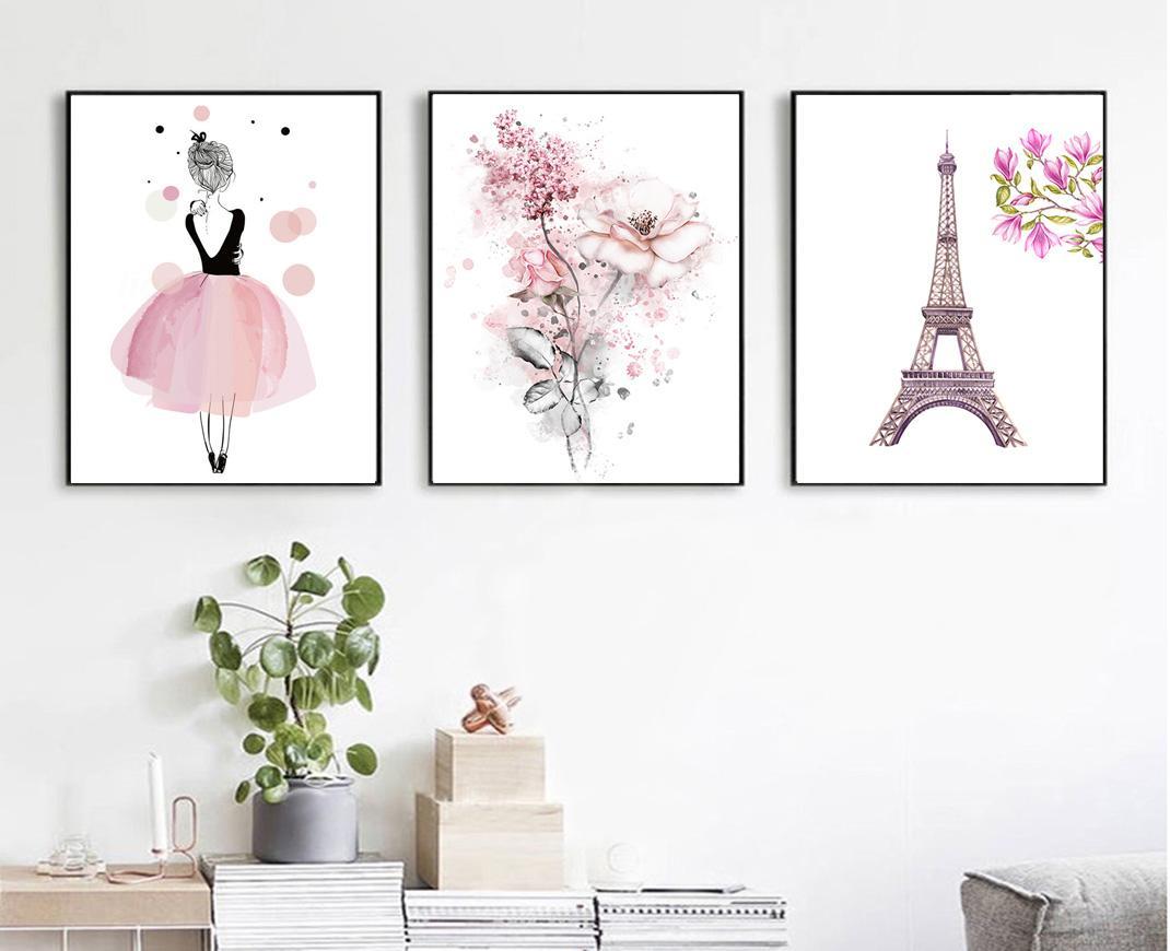 1070x870 2018 Minimalist Watercolor Pink Girl Art Canvas Painting Print
