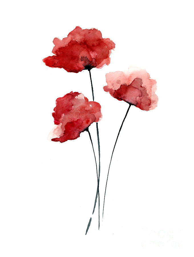 680x900 Red Poppies Watercolor Art Print Painting Painting By Joanna Szmerdt