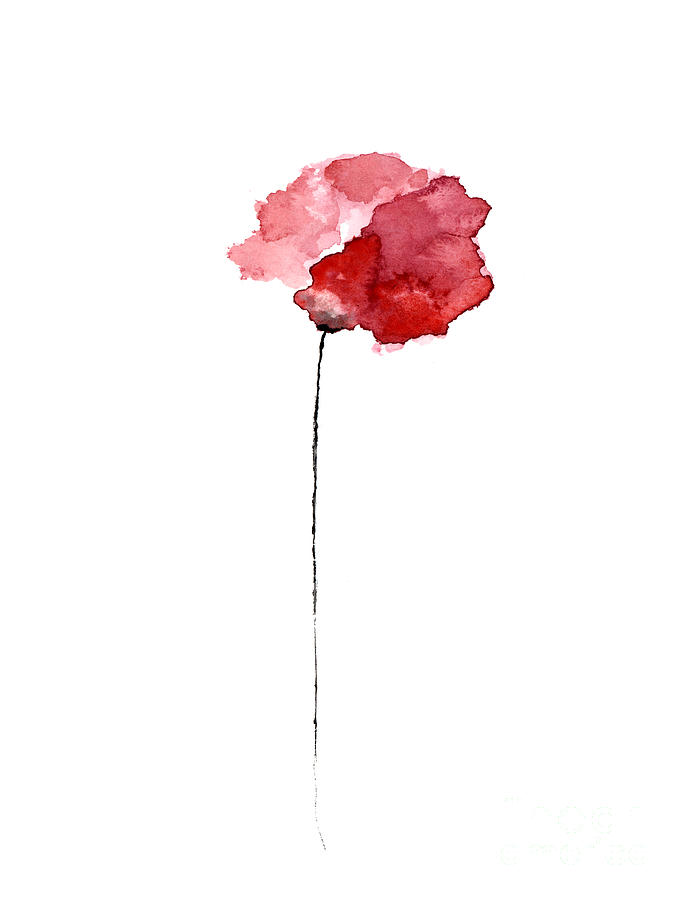685x900 Red Poppy Watercolor Minimalist Painting Painting By Joanna Szmerdt