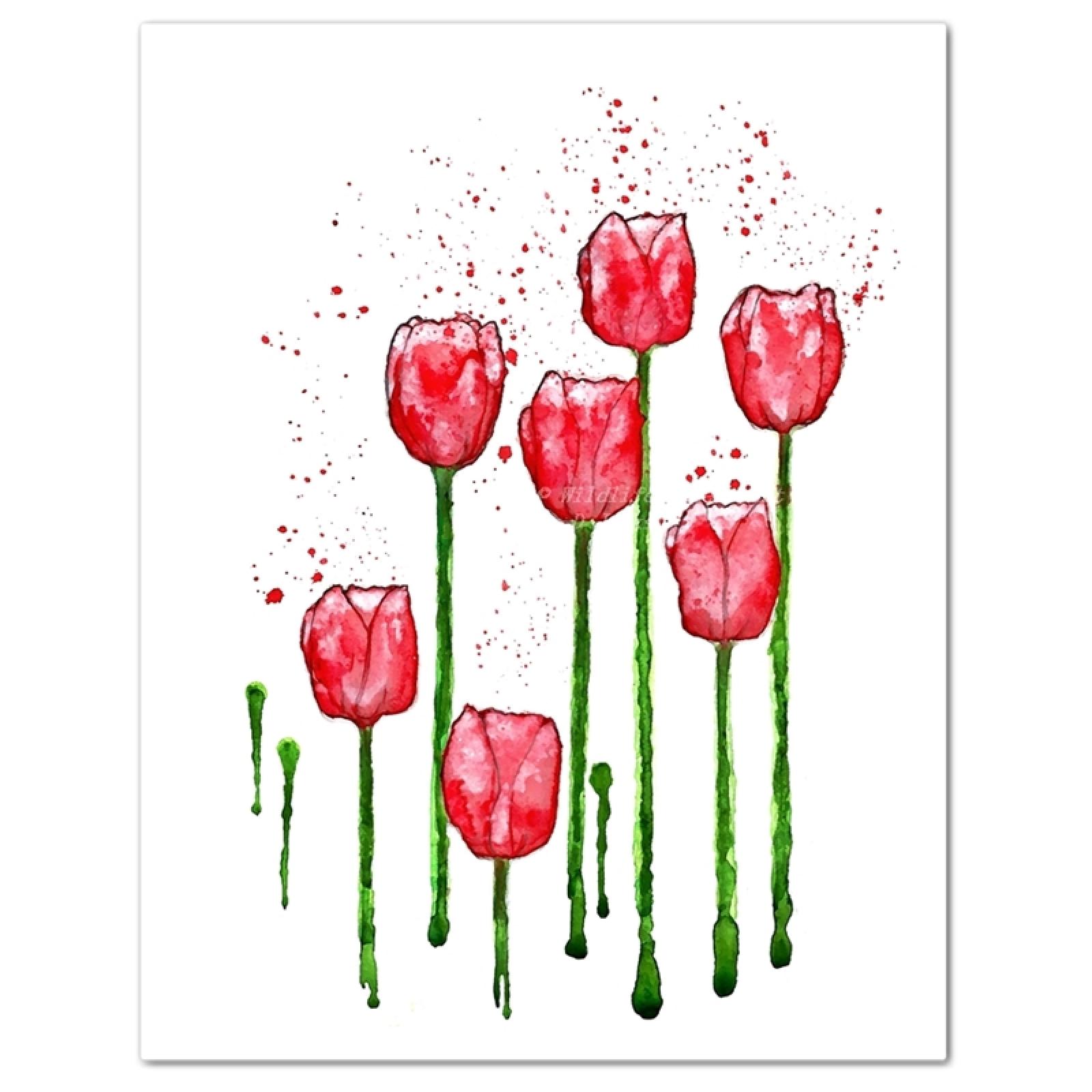1600x1600 Red Tulips Minimalist Watercolor Art Print Wildlife Gardener Art