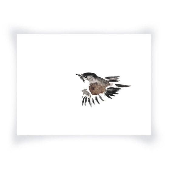 570x570 Sparrow Minimalist Watercolor Print Little Sparrow Etsy