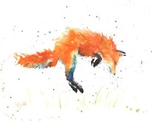 300x240 Watercolor Fox Print, Watercolor Painting, Modern, Minimalist
