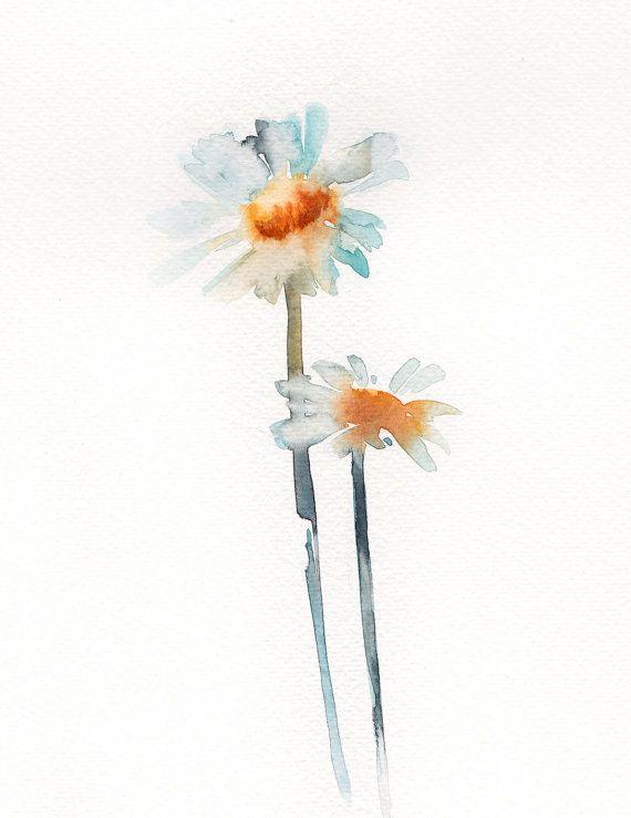 570x739 White Daisies Original Watercolor Painting, Minimalist Flowers