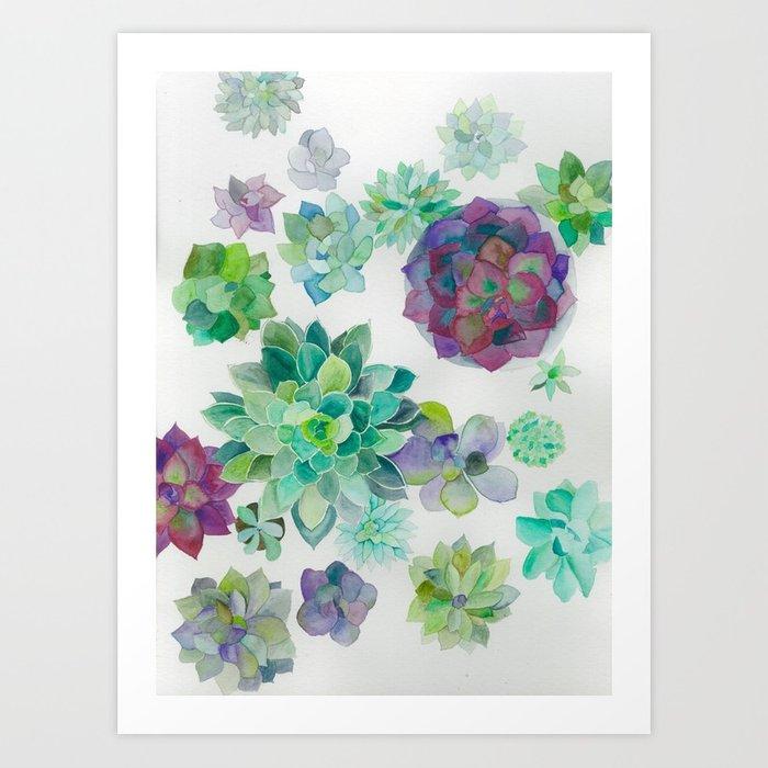 700x700 Minimalist Watercolor Succulent Arrangement Art Print By Elizamori