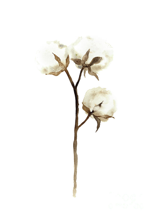 636x900 Cotton White Brown Beige Watercolor Art Print Natural Home Decor