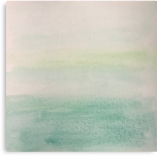550x547 Ombre Mint Green Watercolor Hand Painted Effect Canvas Prints By