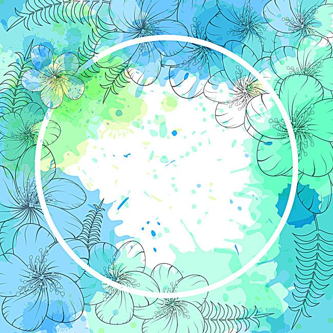 650x650 Mint Green Watercolor Blue Flowers Background Material, Mint Green