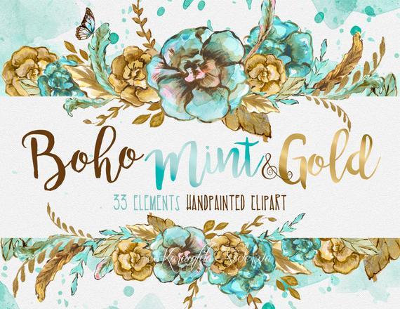 570x440 Watercolor Flowers Digital Clipart Boho Chic Wreath Mint Gold Etsy