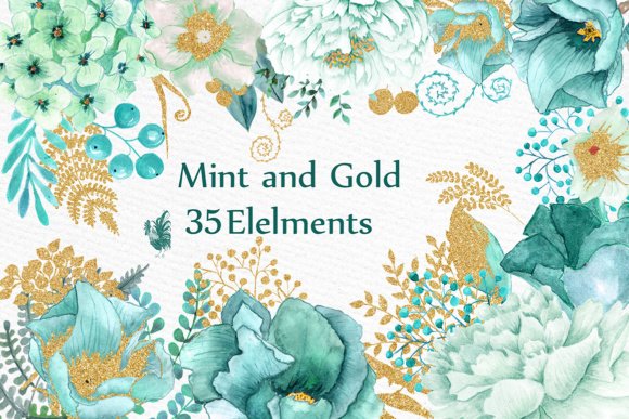 580x387 Gold Mint Watercolor Flowers Graphic By Lecoqdesign