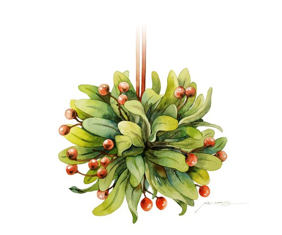 570x475 Watercolor Painting Mistletoe Painting Watercolor