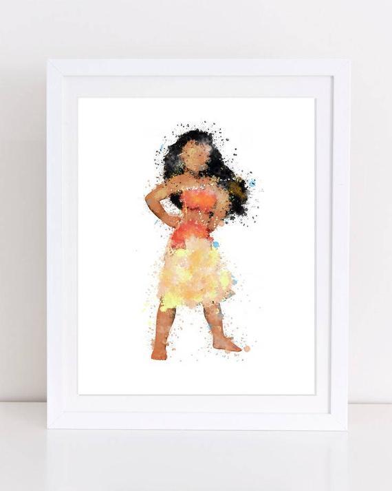570x713 70% Moana Disney Print Moana Watercolor Disney Poster Disney Etsy