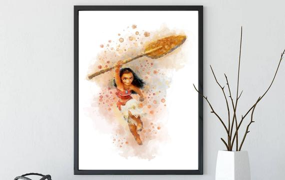 570x361 Disney Princess Moana Print Moana Watercolor Poster South Etsy