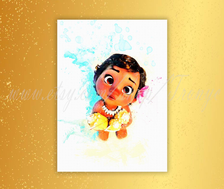 1500x1265 Little Moana Poster, Disney Princess Moana Watercolor Print, South