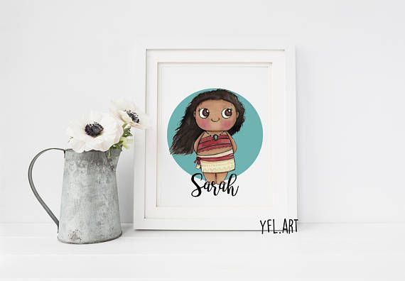 570x396 Moana Disney Print Moana Watercolor Disney Princess Kids Room