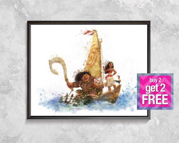570x456 Moana Print Moana Watercolor Moana Poster Moana Decor Etsy