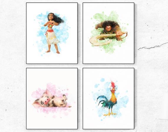 570x448 Moana Print Set Moana Watercolor Maui Print Pua Pig Print Etsy