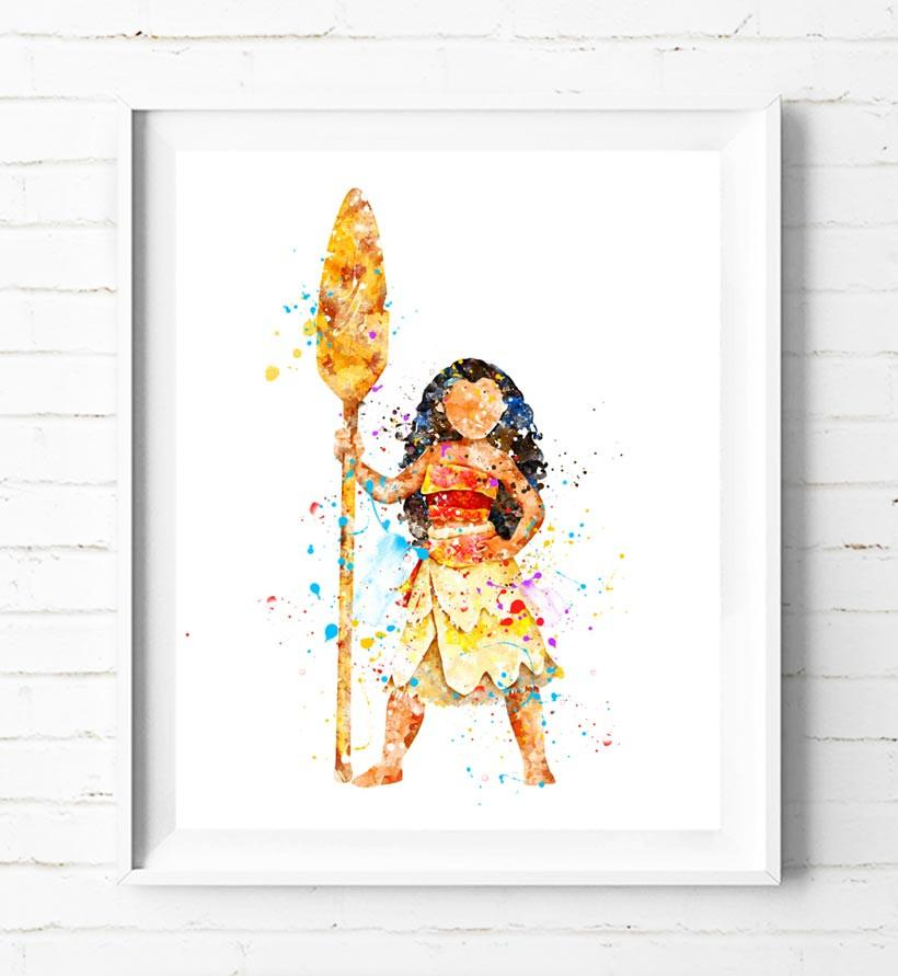 820x891 Disney Princess Moana Art Print Poster Watercolor Painting Wall