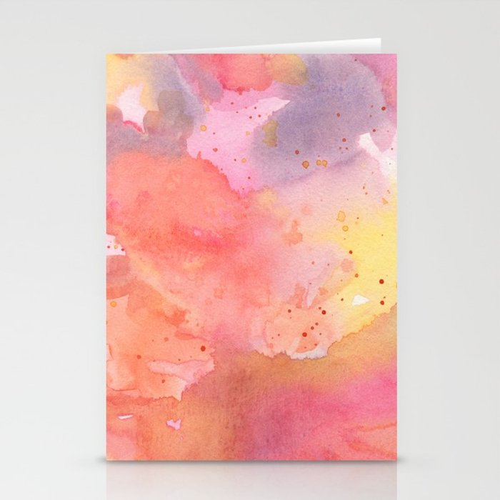 700x700 Sunset Color Palette Abstract Watercolor Painting Stationery Cards