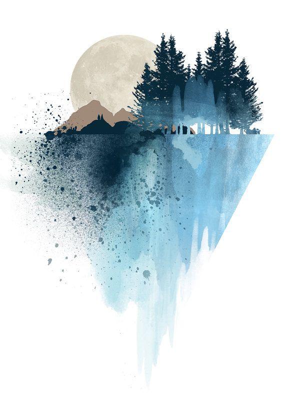 570x785 Modern Watercolor Blue Mountain Wall Art Print, Nature Design