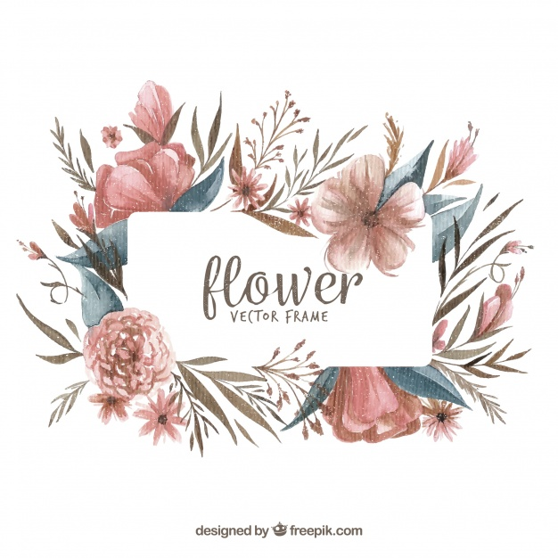 626x626 Modern Watercolor Floral Frame Vector Free Download