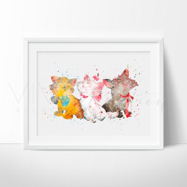 600x600 Aristocats Watercolor Nursery Art Wall Decor Print