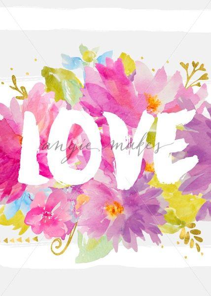 428x600 Cute Love Art Print With Watercolor Flowers. Printable Artwork