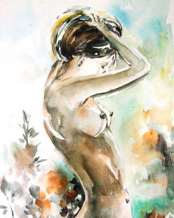 570x713 Female Figure Art Print, Woman Figurative Watercolor Painting