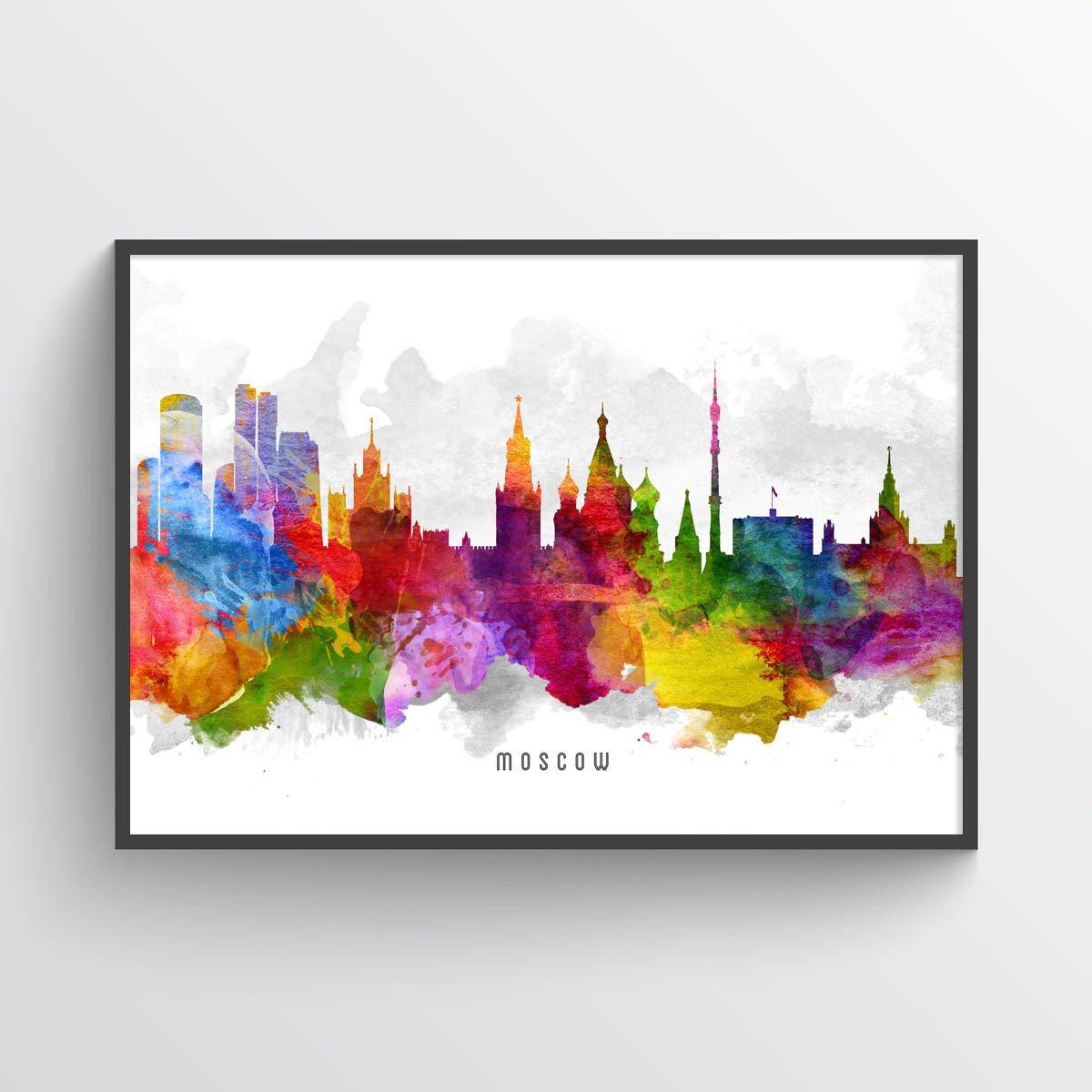 1200x1200 Moscow Skyline Watercolor Art Print