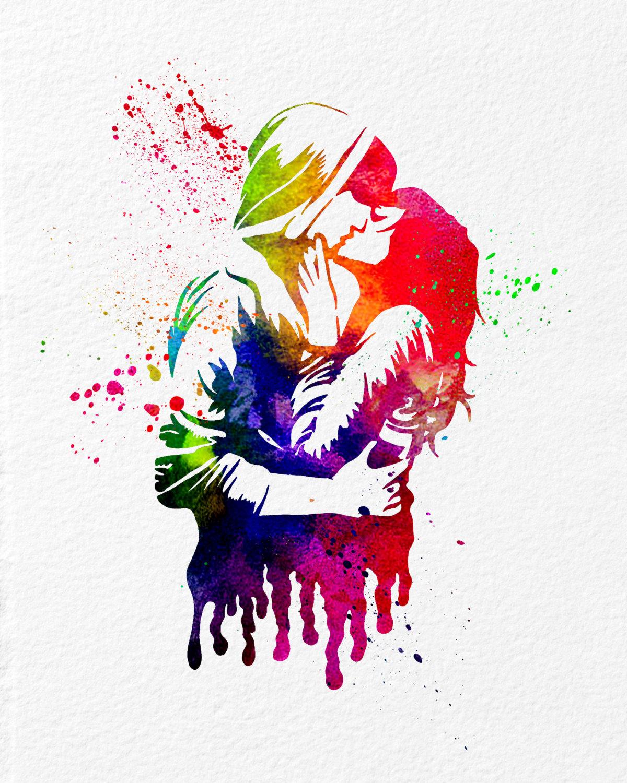 1200x1500 Watercolor Art Print Kissing Couple Modern 8x10 Wall Art Decor
