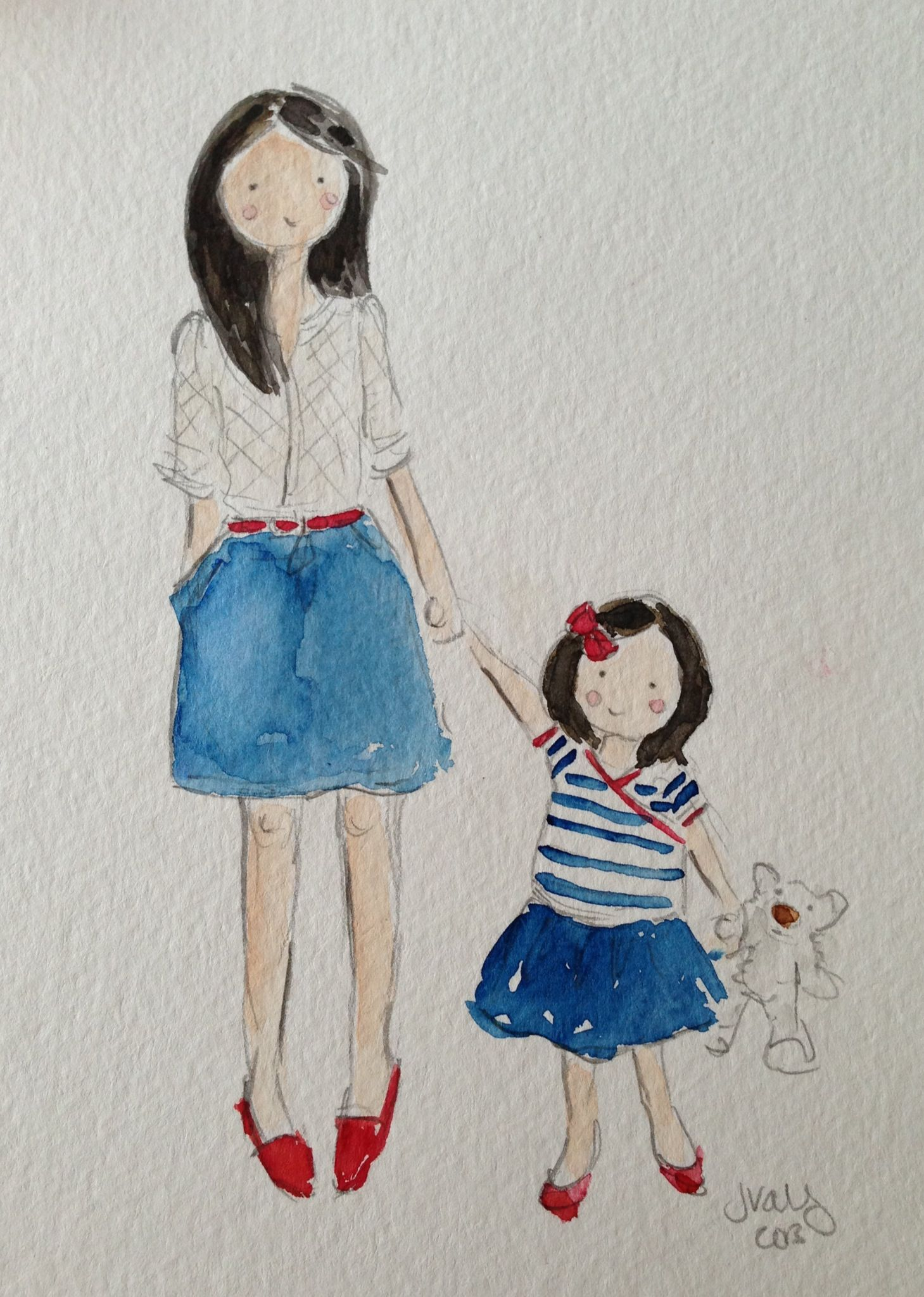 1459x2047 Pandoraloves This Watercolor Painting Of A Mom And Daughter In