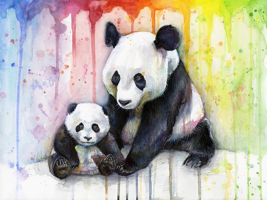 900x676 Panda Watercolor Mom And Baby Painting By Olga Shvartsur