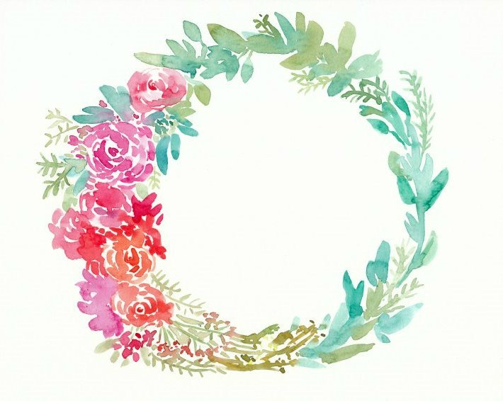 710x566 Watercolor Flower Wreaths For Mom