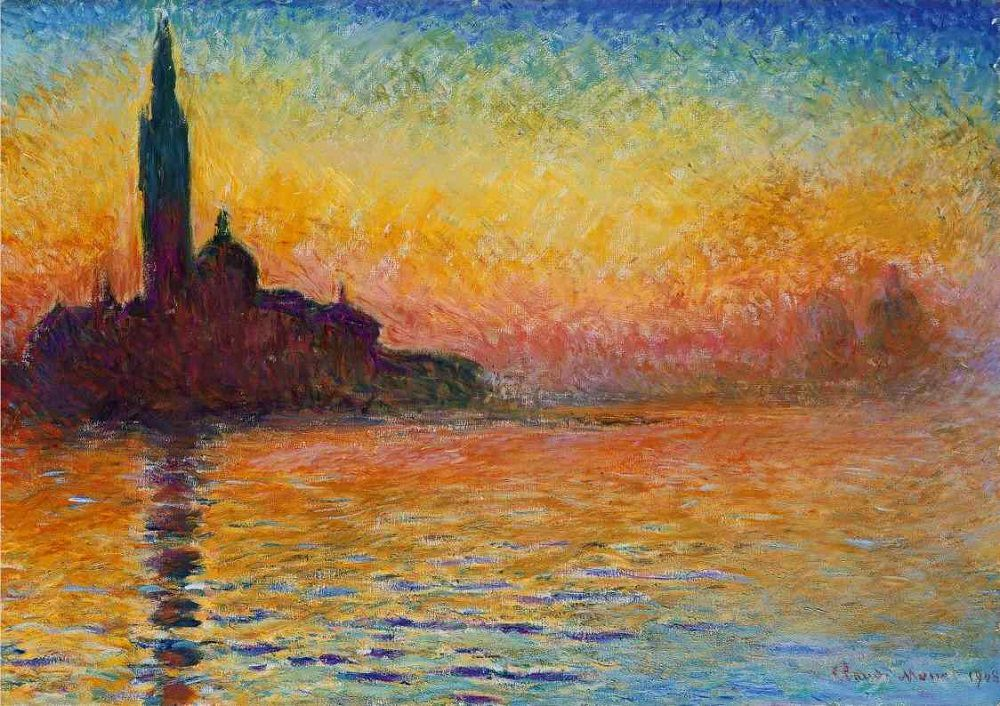 1000x706 Sunset In Venice, 1908 By Claude Monet