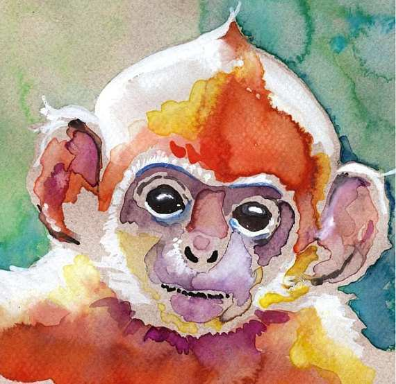 570x554 Monkey Painting Awesome Monkey Watercolor Painting Print Artist