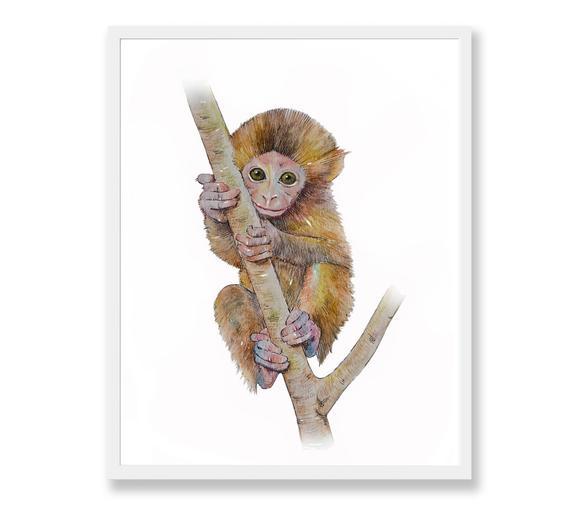 570x507 Monkey Print Monkey Art Monkey Watercolor Painting Safari Etsy
