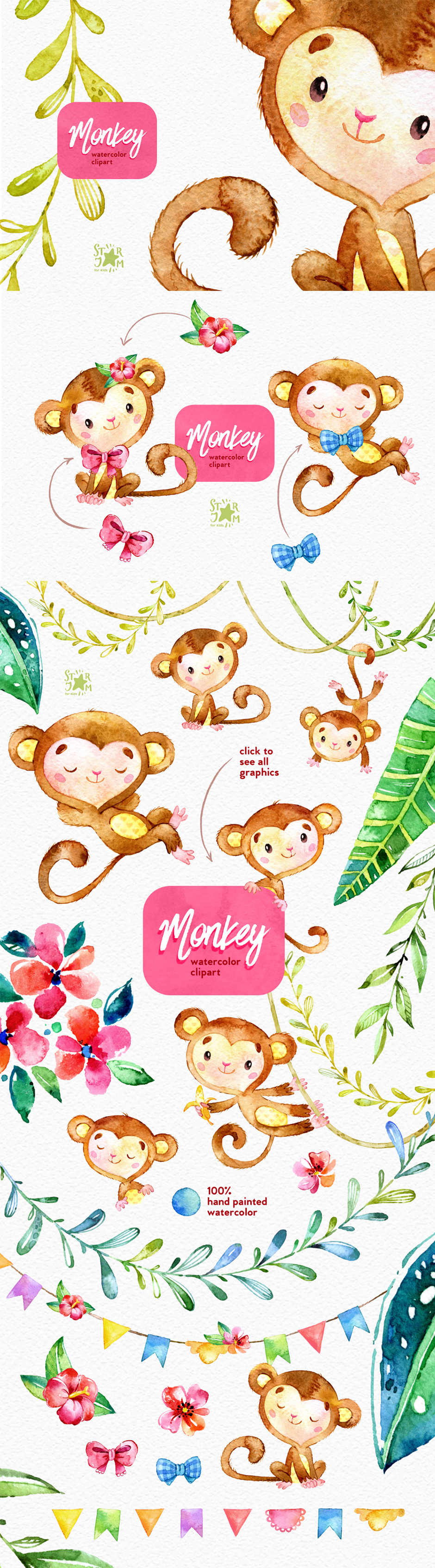 940x3385 Monkey Watercolor Clip Art