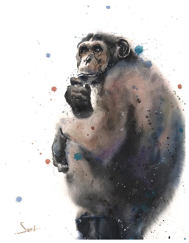 650x836 Monkey Watercolor Print Watercolor Animal Paintings
