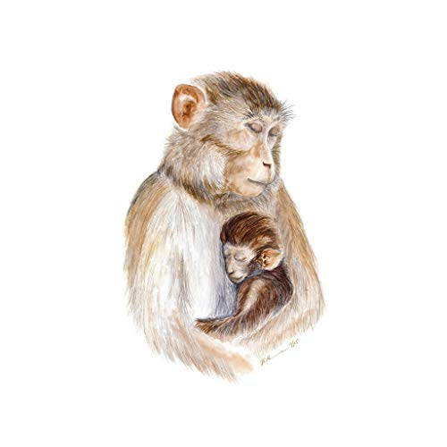 500x500 Hand Painted Mom And Baby Monkey Watercolor Nursery
