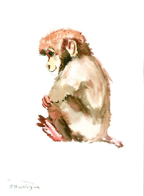 499x680 Monkey Painting, Animal Art, Original Watercolor Painting, 12 X 9