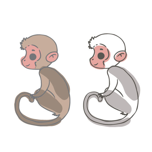 500x500 Monkey With Watercolor Vector Free Download