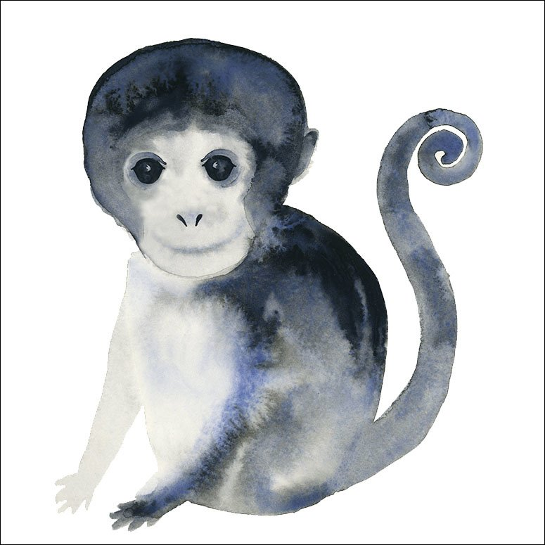 775x775 Oopsy Daisy Gentle Watercolor Monkey Canvas Art Wayfair