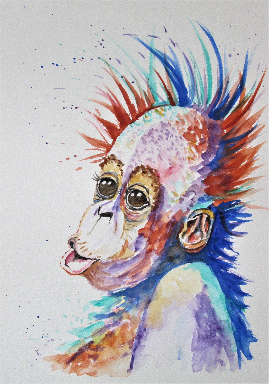 2107x3000 Original Orangutan Art, Baby Monkey Art, Monkey Watercolor