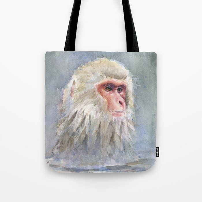 700x700 Snow Monkey Watercolor Animal Tote Bag By Olechka Society6