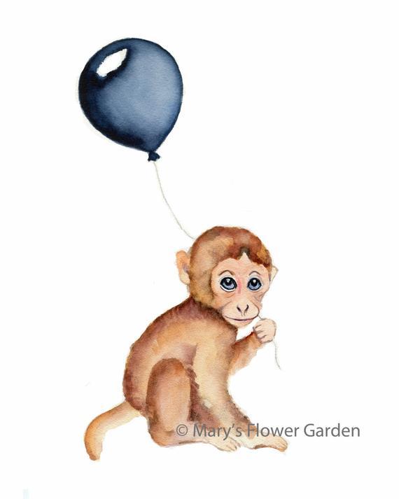 570x713 Monkey Nursery Decor Monkey Baby Art Monkey Watercolor Etsy