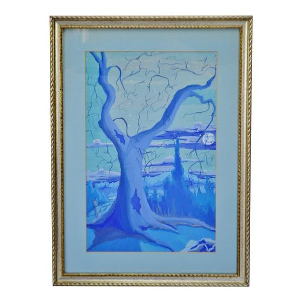 600x600 Vintage Framed Monochromatic Watercolor Landscape Painting Artist