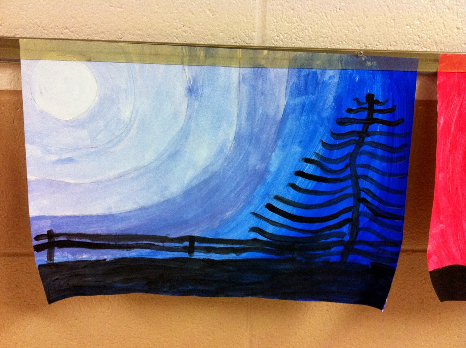 1600x1195 Chumleyscobey Art Room Monochromatic Moonscape Paintings By 4th Grade