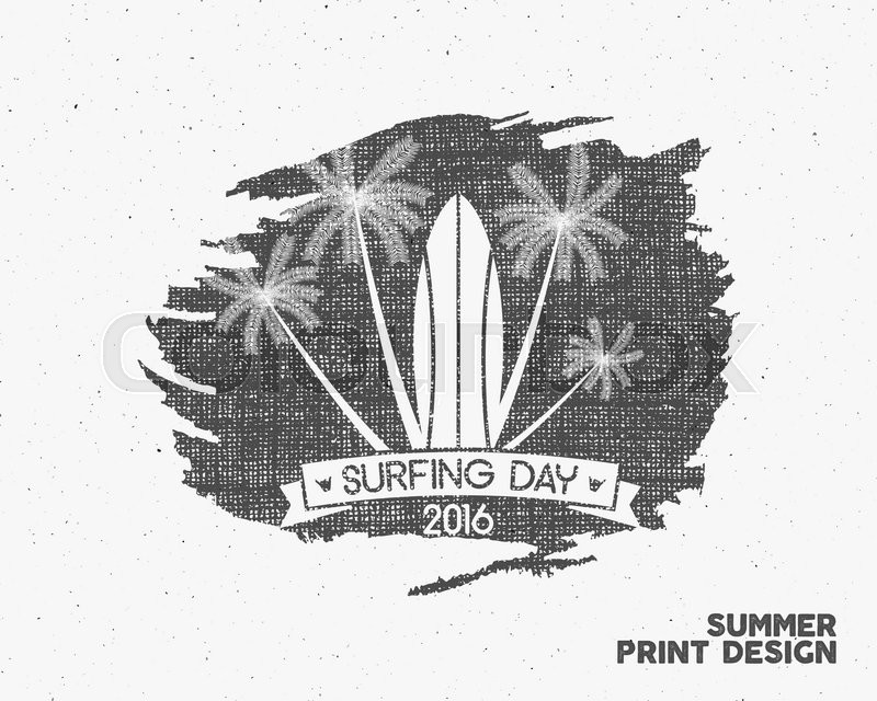 800x640 Surfing Day Label Graphic Elements. Vector Tropical Typography
