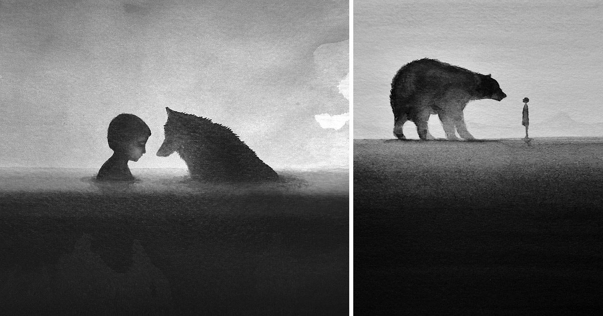 1200x630 Dreamy Black And White Watercolors By Artist Elicia Edijanto