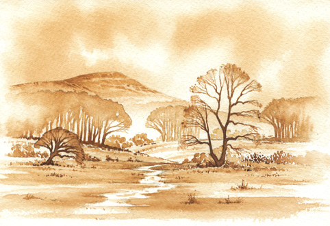 482x330 Monochrome Painting Demonstration In Watercolour.